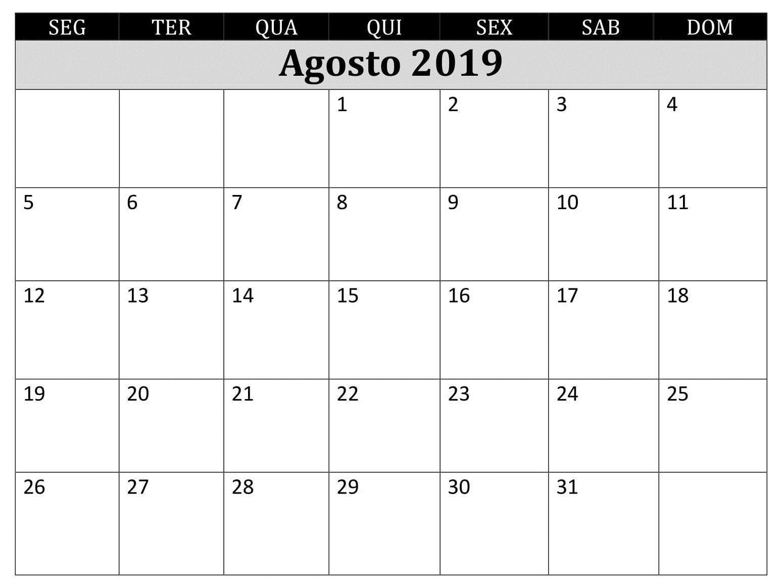 Calendario 2019 Agosto A Diciembre.Calendario 2019 Agosto Imprimir Pdf Agosto Calendario 2019