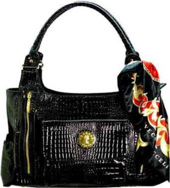 Vecceli Italy Crocodile Embossed Black Handbag Designed by Ronella Lucci AS-163CROCBLKMAT