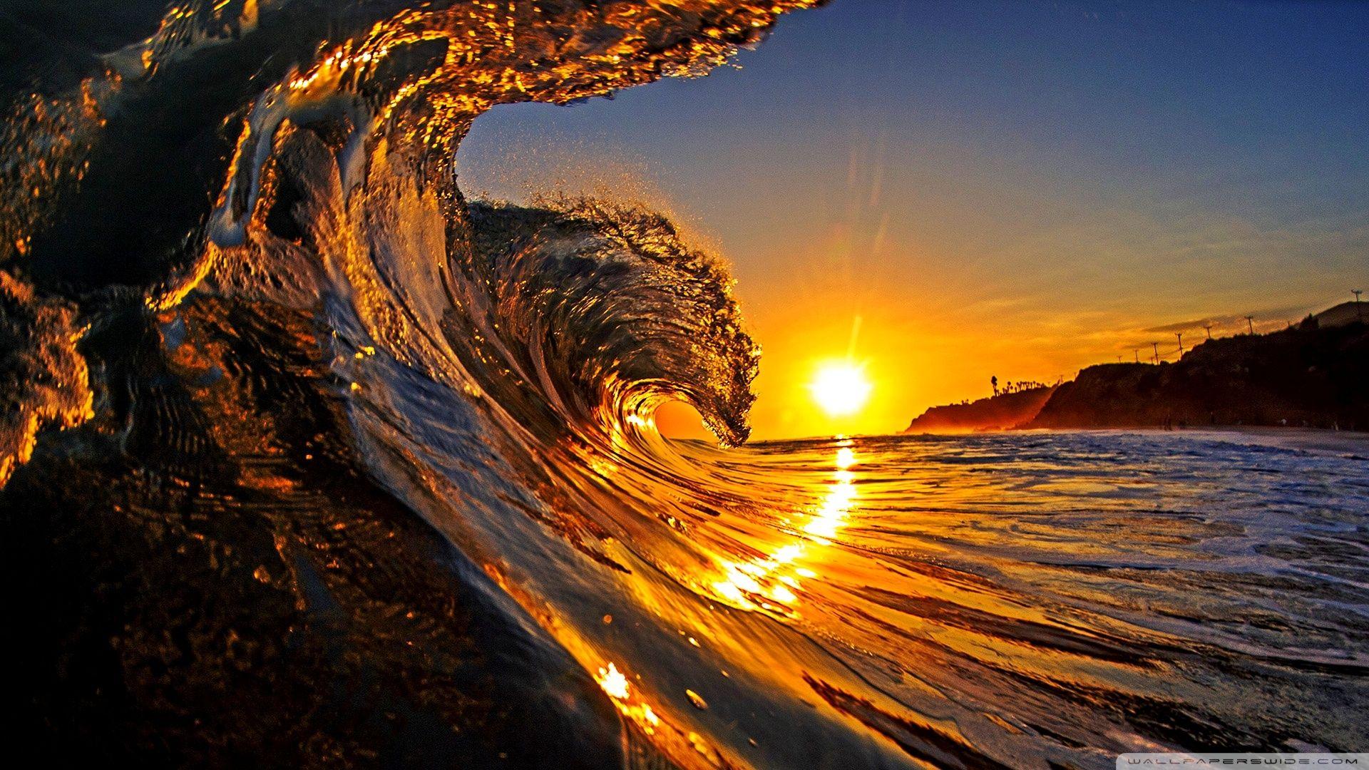 Sunset Sea Wave HD desktop wallpaper Widescreen High
