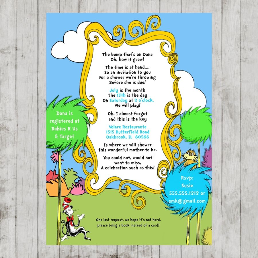 Dr. Seuss Lorax Baby Shower Printable Invitation Design | Dr. Seuss ...
