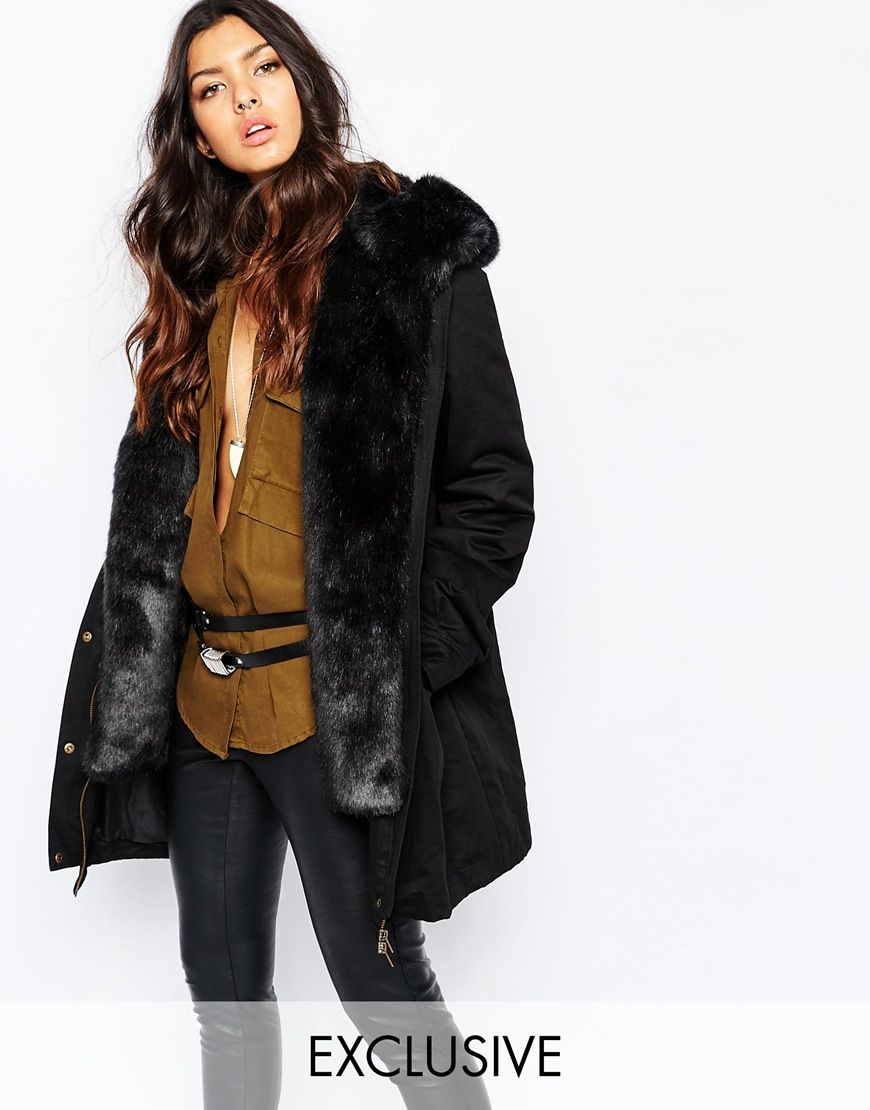 Faux London Parka Coat With Faux Fur Lining | Ready to wear ...