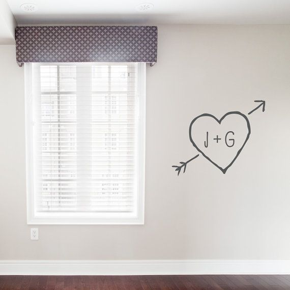Carved Heart Wall Decal - Personalized Monogram Decal Monogram Decal Initial Wall Decal Monogram Wall Sticker Carved Heart Cupid Arrow & Carved Heart Wall Decal - Personalized Monogram Decal Monogram ...