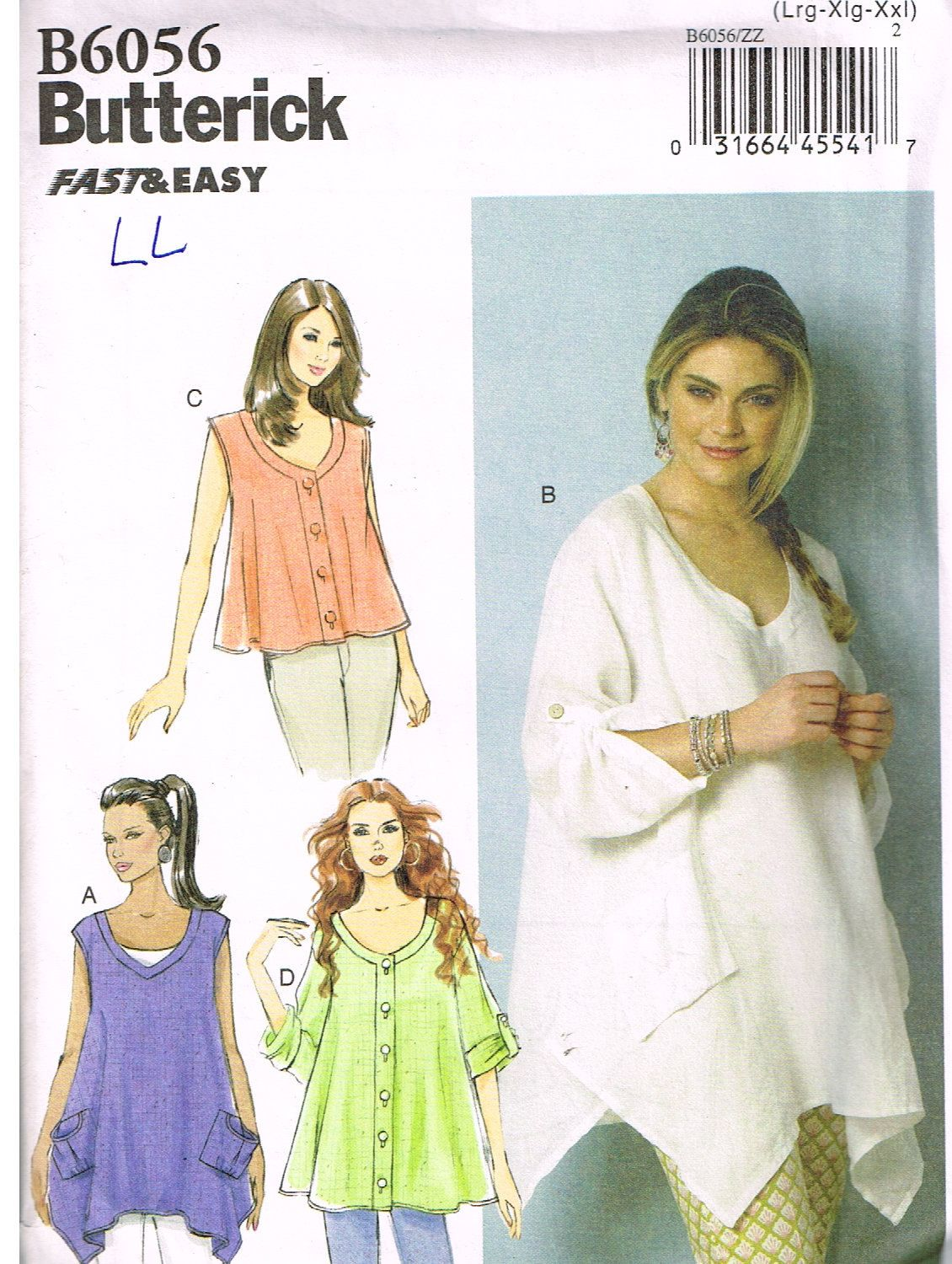 Butterick b6056 sewing pattern misses tops lrg xlg xxl plus butterick sewing pattern misses tent tops jeuxipadfo Image collections