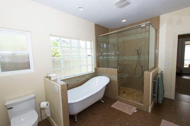 Cork Flooring For Bathroom Bathtub Shower Area Large Towel Holder Full Glass Shower Door Good Lighting Bathroo Bathroom Design Full Glass Shower Doors Bathroom
