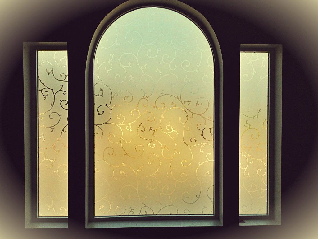 Instead of blinds to cover our beautiful window  we used window film from home  depot. Etched Glass Effect Frost Window Film Victorian Styles   Etched