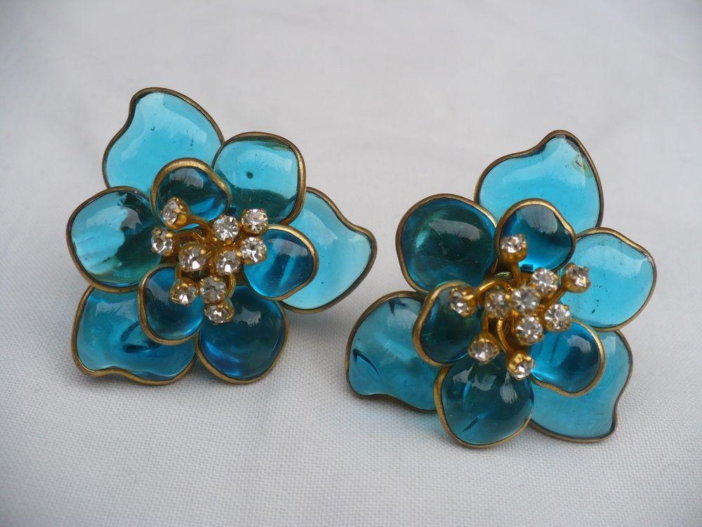 Wonderful Vintage 70 S Maison Gripoix Blue Poured Glass Earrings Clip Glass Earrings Vintage Costume Jewelry Beautiful Jewelry