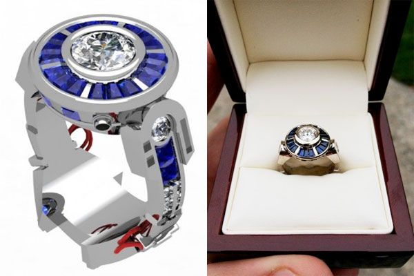 Engagement ring inspired by R2-D2 from Star Wars.  Very cool!