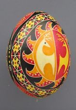 Pysanka, Real Ukrainian Easter Egg Hen Chicken Shell,Geometric Design,Deer M13