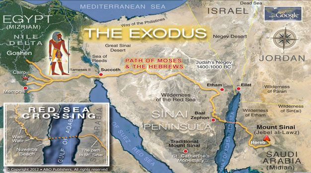 The Exodus path map ...believe that the REAL Mt. Sinai is ...