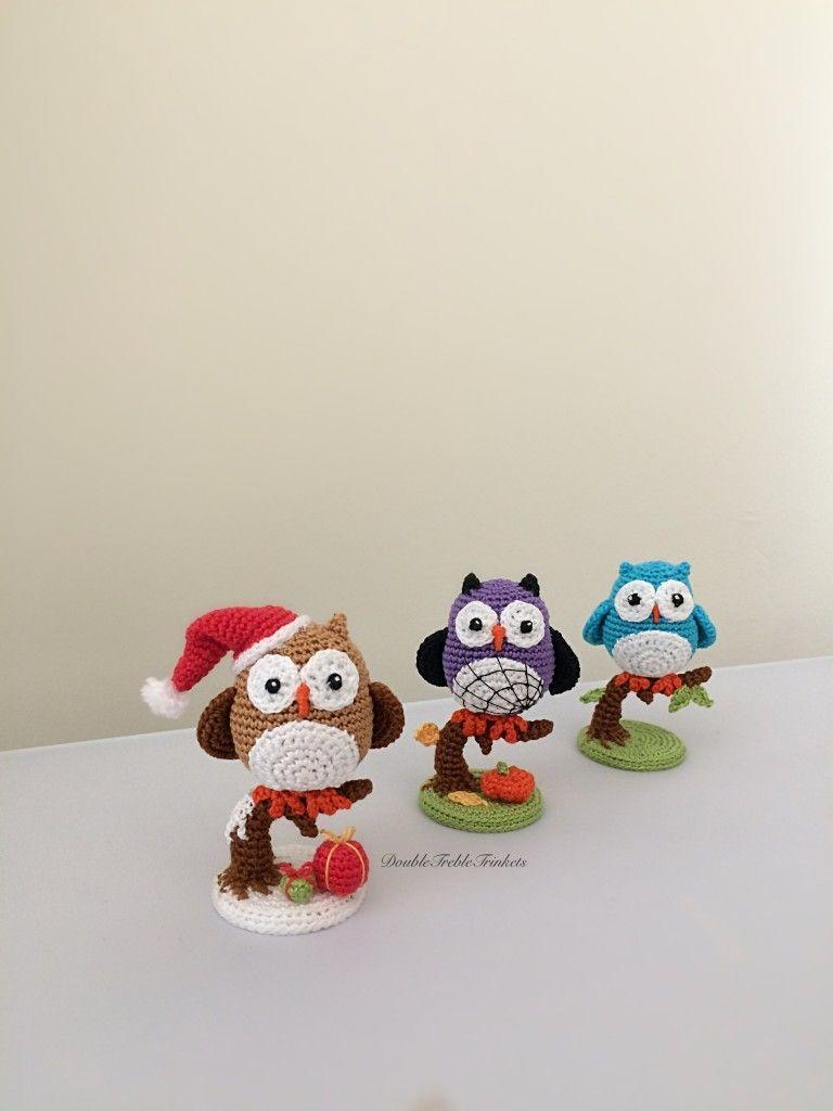owls in santa hats | Animals (Crochet) | Pinterest | Häkeln