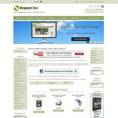 Newport Eco Free Zen Cart Template Custom Zen Cart Design Ecommerce Web Design Zen Cart Templates By Picaflo Free Web Design Ecommerce Web Design Templates