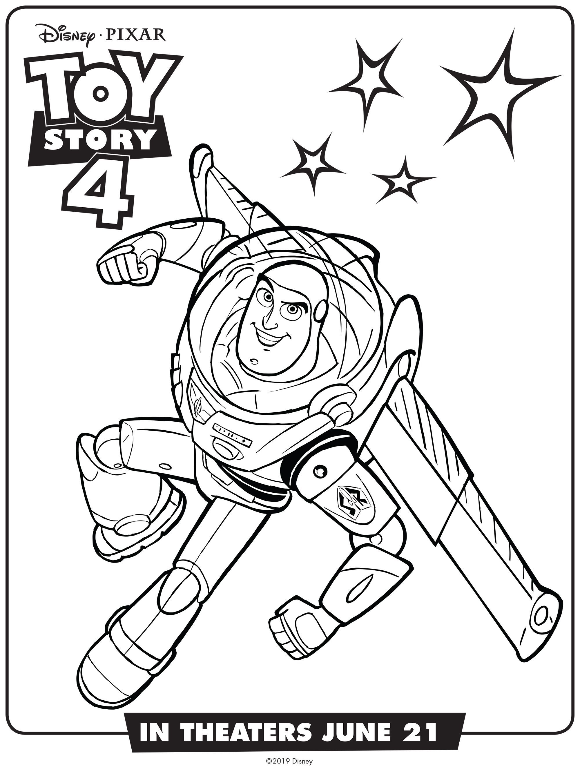 Simple Toy Story 4 Coloring Page For Kids Buzz Lightyear From The Gallery Toy Story 4 In 2020 Toy Story Coloring Pages Disney Coloring Pages Coloring Books