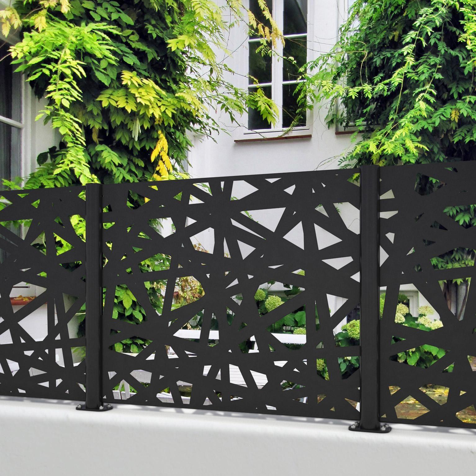 Claustra Alu Leroy Merlin clôture aluminium mikado noir, h.95 x l.120 cm en 2020