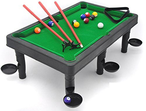 Little Treasures Small Sized Snooker And Pool Table World Champion Pool Set  Including Table, Cues