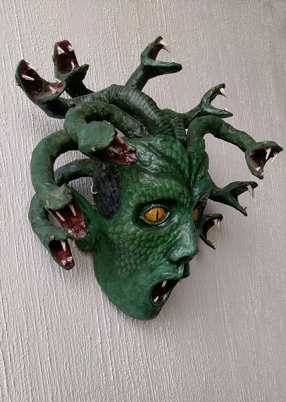 Green Medusa Paper Mache Fantasy Art Horror Art Greek Mythology Fascinating Paper Mache Masks To Decorate