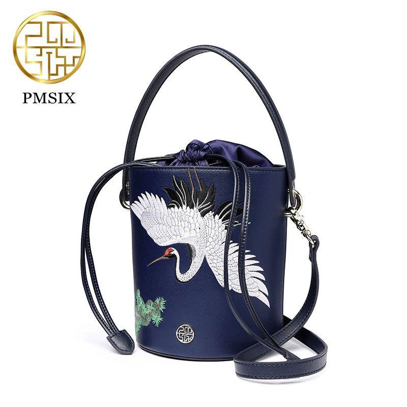 558c37eec6 Find More Top-Handle Bags Information about 2018 Desinger shoulder bags  women spring and summer new original design Embroidery leather bucket bag  Messenger ...