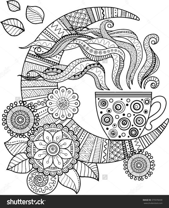 a cup of herbal tea for a good night coloring book for adults ...