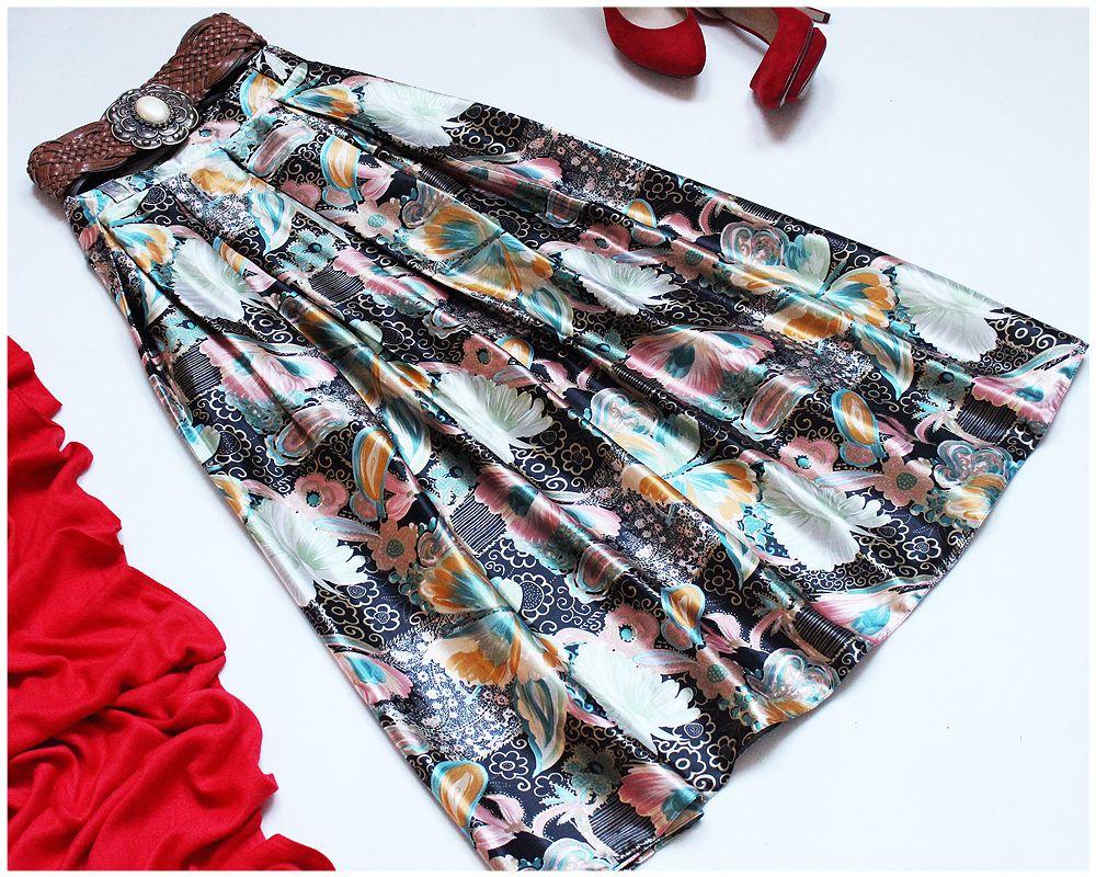 Piekna Kolorowa Spodnica Maxi Vintage Roz 50 52