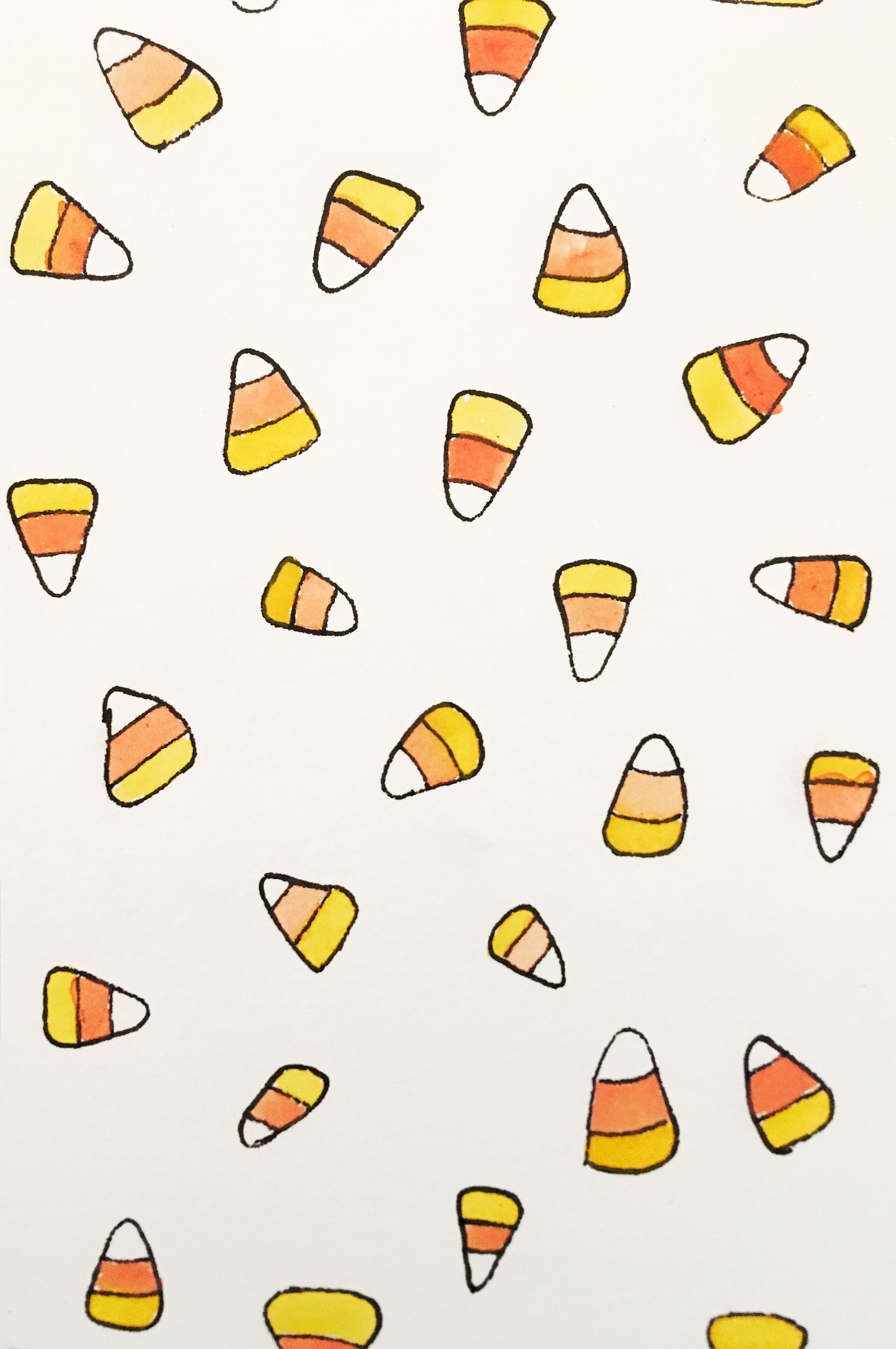 Candy corn iPhone watercolor wallpaper #fallbackgrounds