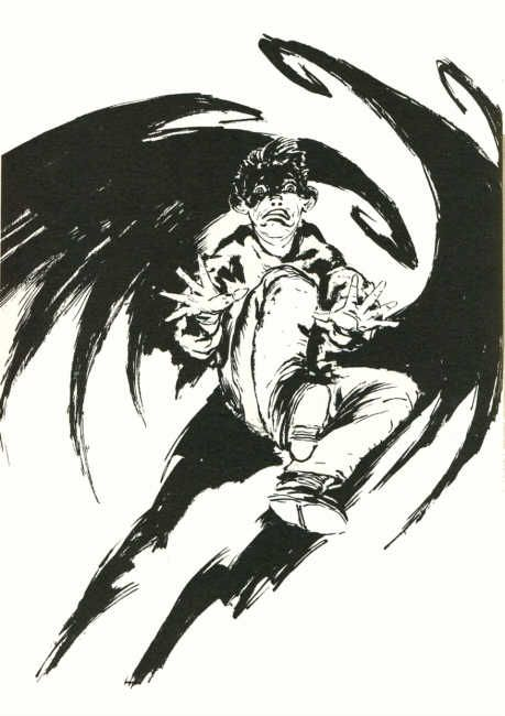 Wendell attacked by Harvey who turned into a bizarre vampire in The Thief of Always.