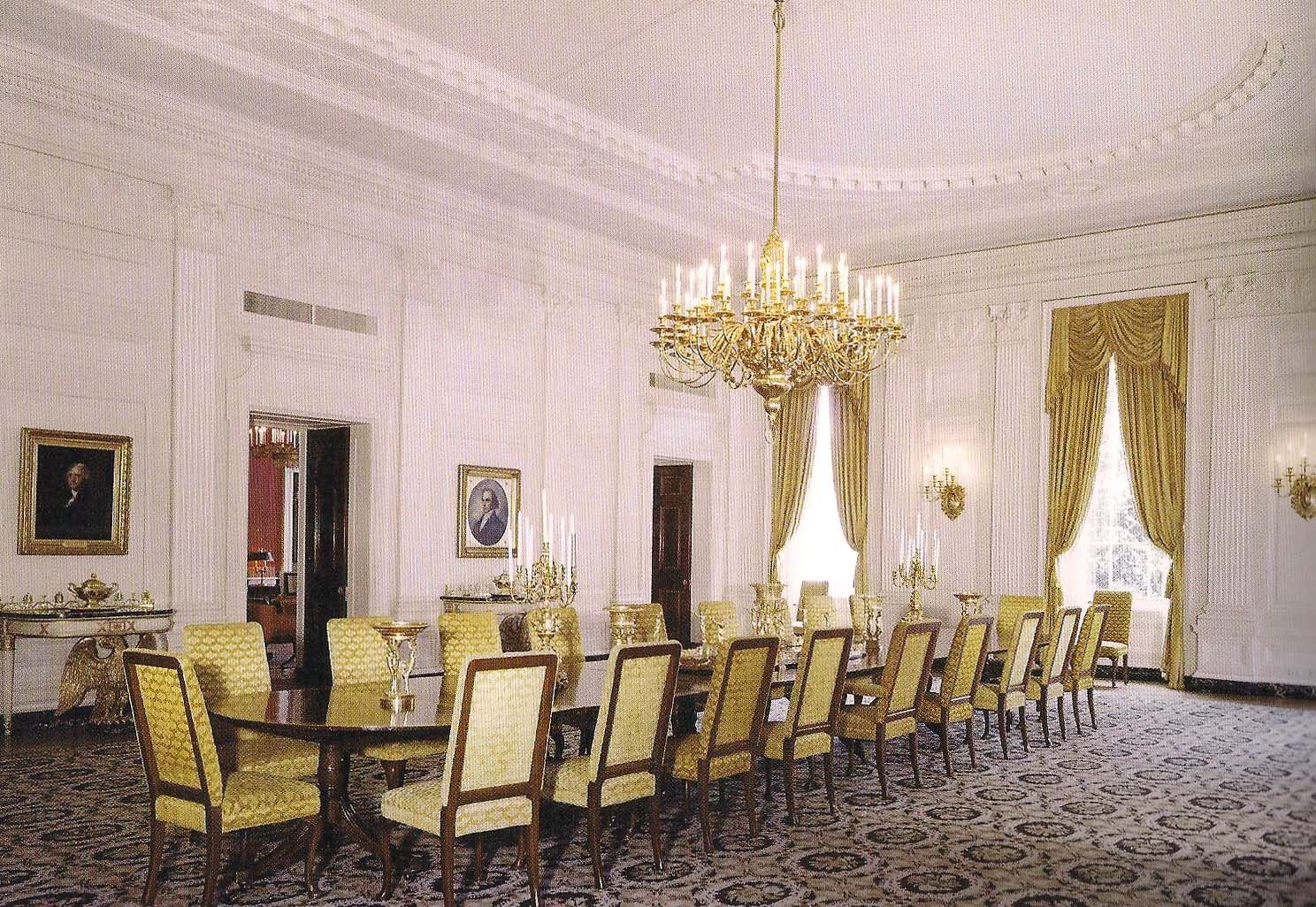 The state dining room of the white house as decorated by stephane boudin of jansen