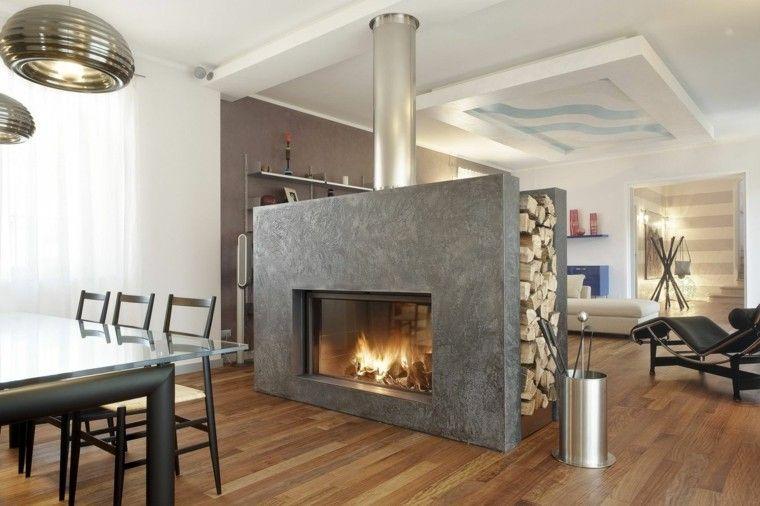 Chimenea diseño a dos caras- 50 ideas para entrar en calor Dos - diseo de chimeneas para casas