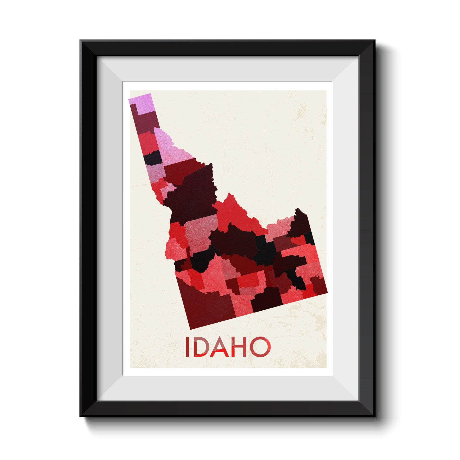 Idaho Map Print. Map Poster. State Poster. Huge sizes available. Printed Canvas Also Available. by MappedMoments on Etsy