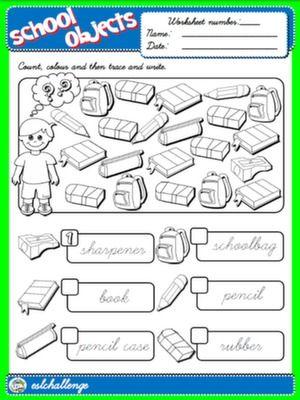 classroom objects worksheet 1 english step by step 1st graders pinterest worksheets. Black Bedroom Furniture Sets. Home Design Ideas