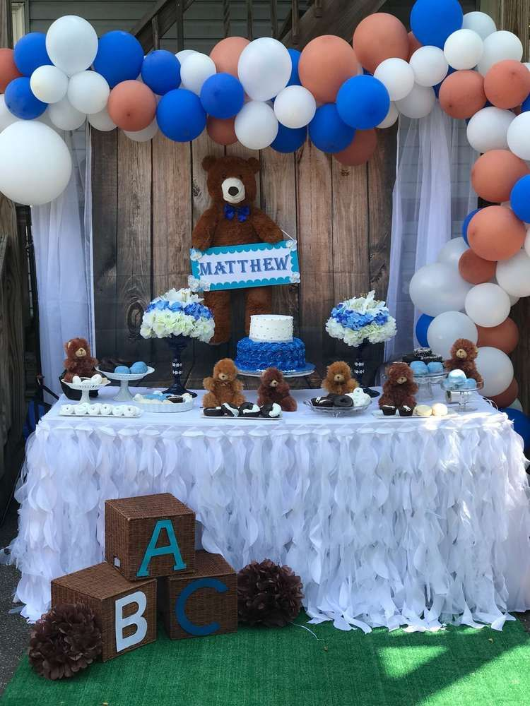 Teddy Bear Baby Shower Party Ideas Photo 1 Of 4 Baby Shower Desserts Baby Bear Baby Shower Baby Shower Party Decorations