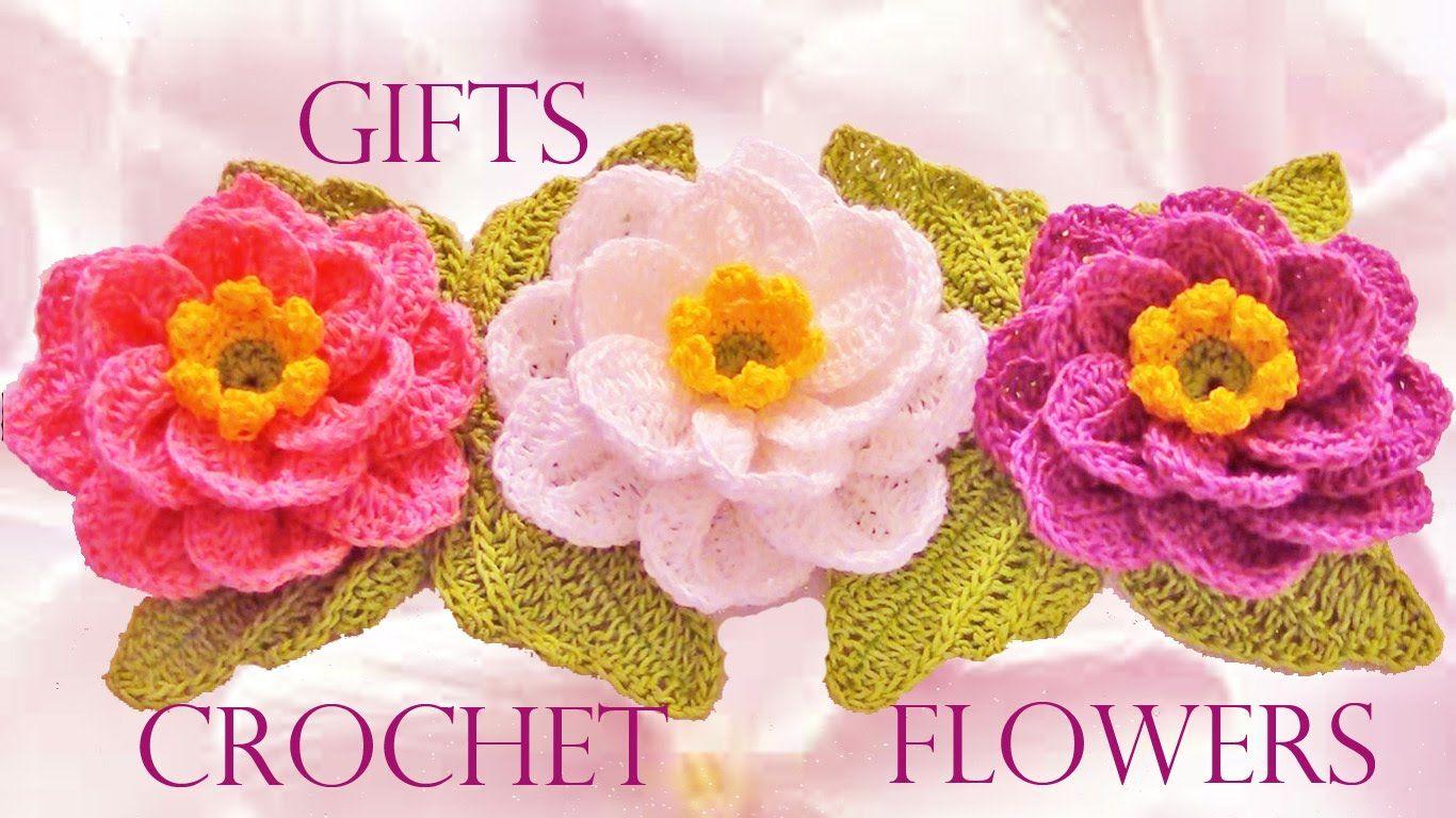 Como tejer flores fácil y rápido en una tira en pocos minutos - Make kni...