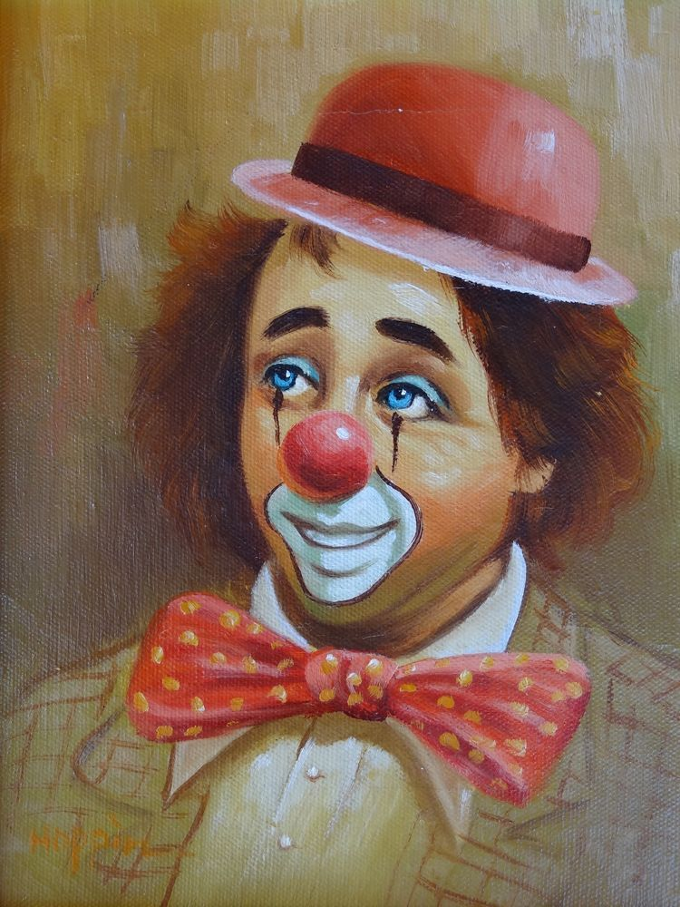 Vintage Rare Clown Oil Painting by Hoppin | Clown Art