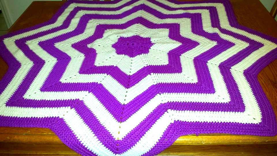 Vintage Crocheted Round Afghan56 Diametercrocheted Blanket