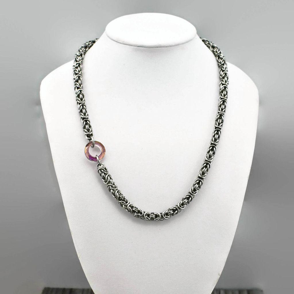 Amanda Off-Set Necklace - Lilac