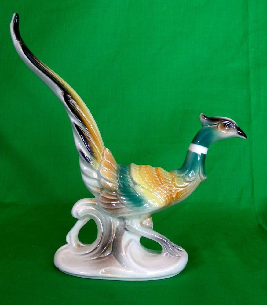 Vintage Ceramic Pheasant Bird Figurines Statues 1940s ...