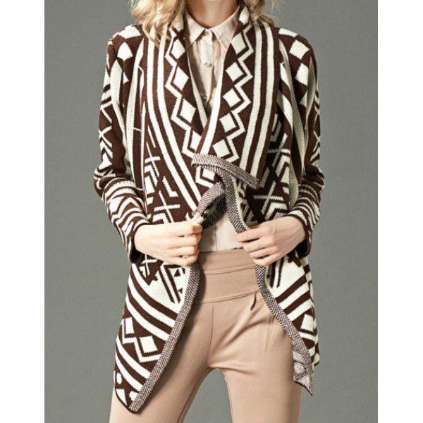 e9f60f108 Geometric Pattern Fashionable Turn-Down Collar Long Sleeve Women s ...