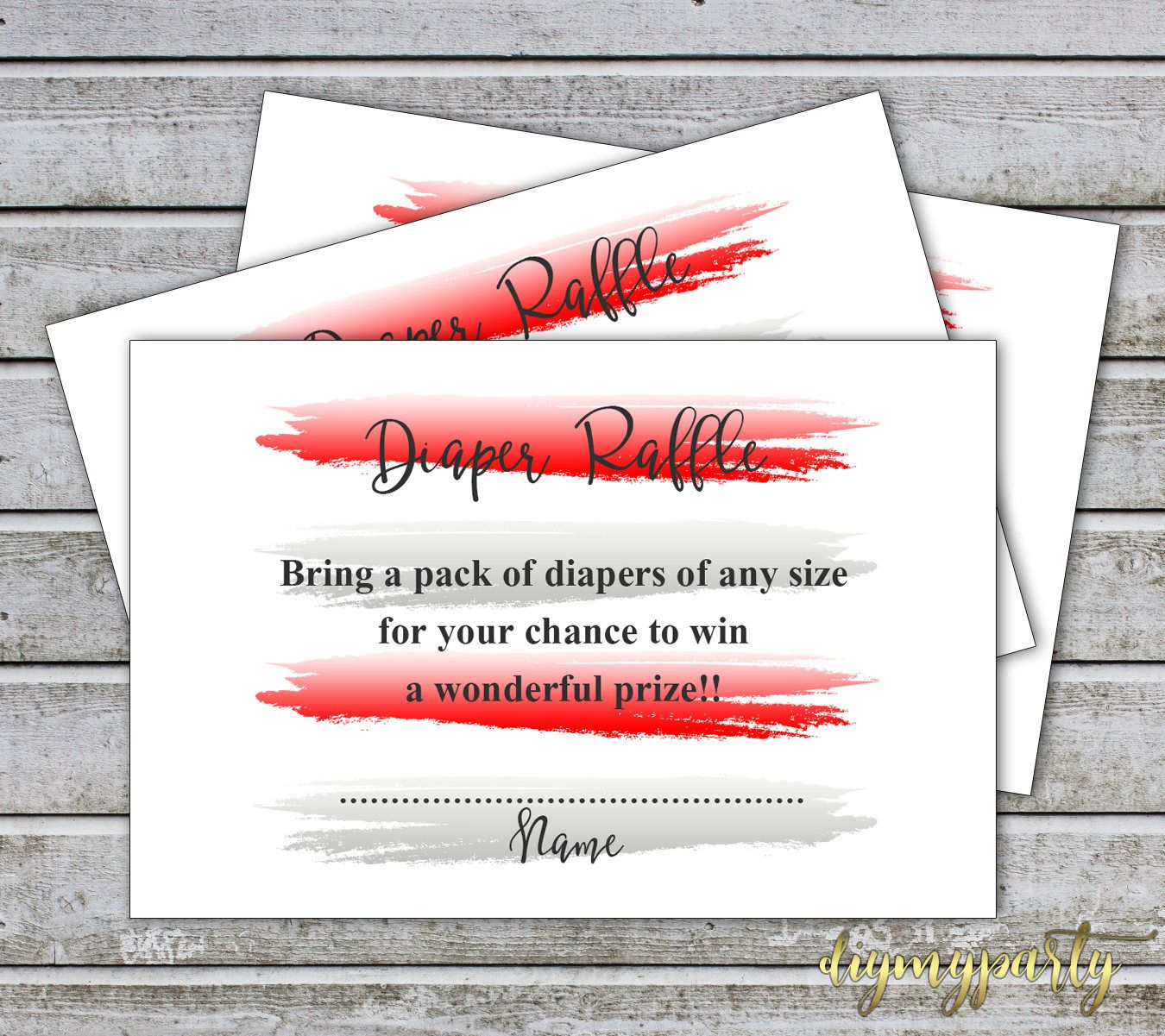 Diaper Raffle Ticket Cards Printable Baby Shower Games Diaper Raffle ...
