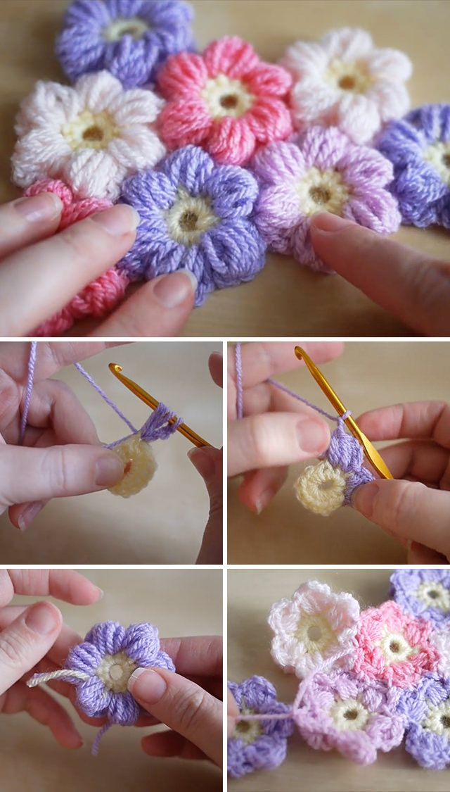 Puff Flowers Crochet Design You Will Love #diybeauty
