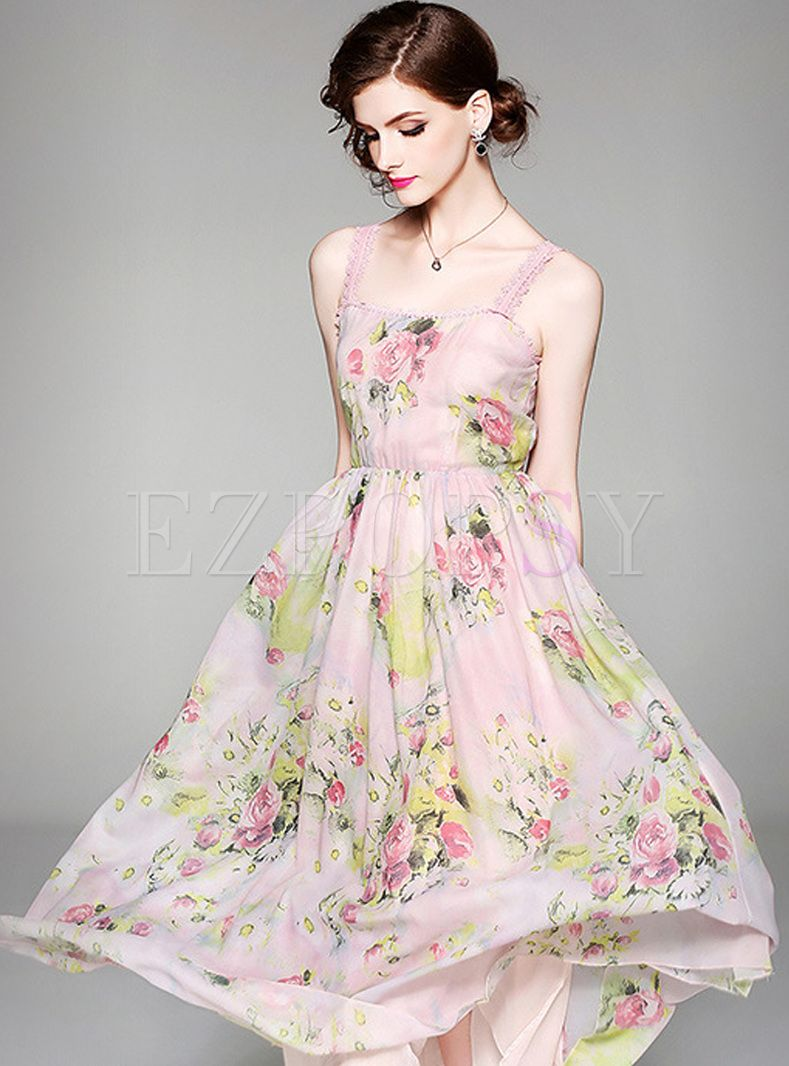 cce6fcda7c5 Sweet Mesh Floral Print Maxi Dress in 2019