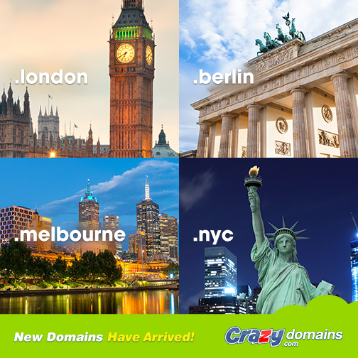 There has never been a better time to get a dot city TLD, with new cities live and coming soon including #LONDON #MELBOURNE #BERLIN #NYC and #VEGAS.   What city would you most like to see?  http://www.crazydomains.com/domain-names/new-domain-names/?pipromocities