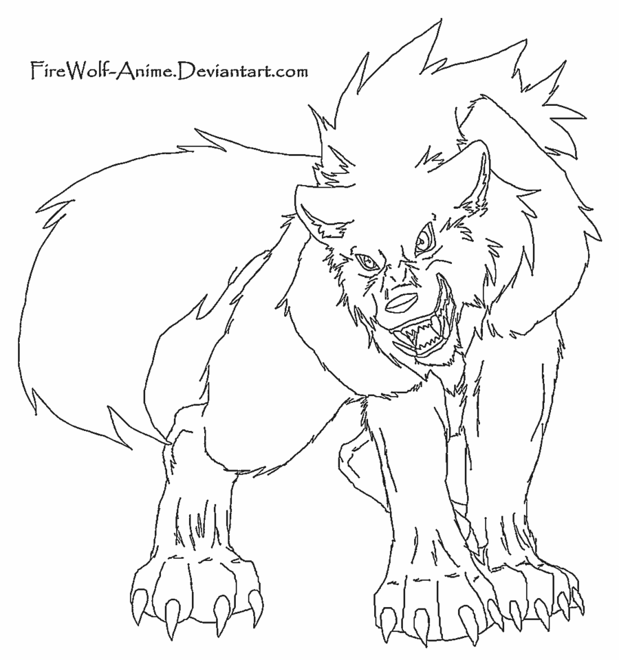 anime wolf lineart | Coloring Pages - Fantasy Creatures | Pinterest ...