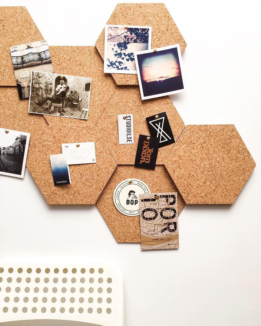 Hexagonal Cork Tiles #homeofficefurniturecorkboards