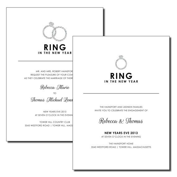 ring in the new year new years eve engagement or wedding invitation