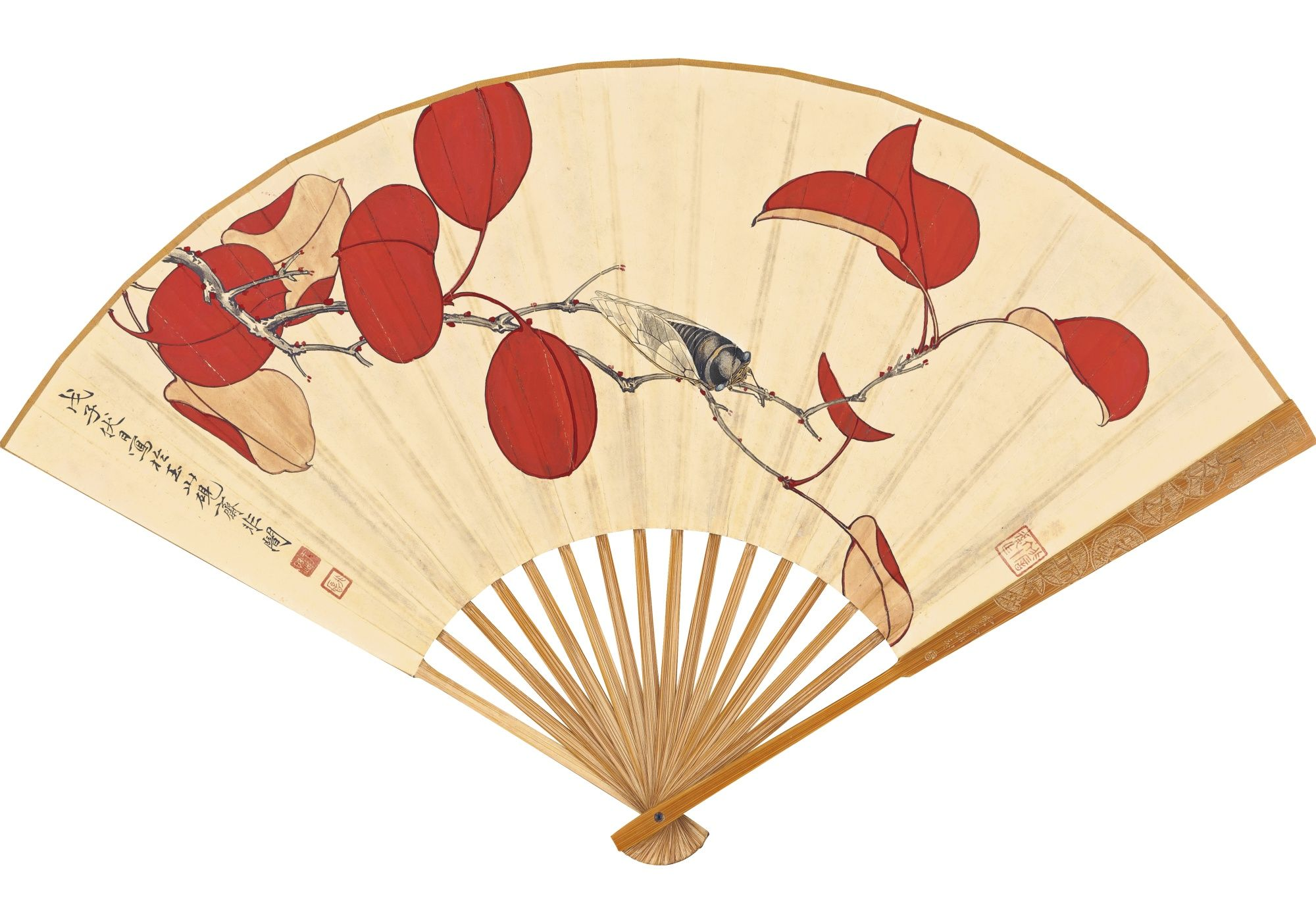 Beautiful Chinese Year of Horse Bamboo & Silk Hand Folding Fan ...