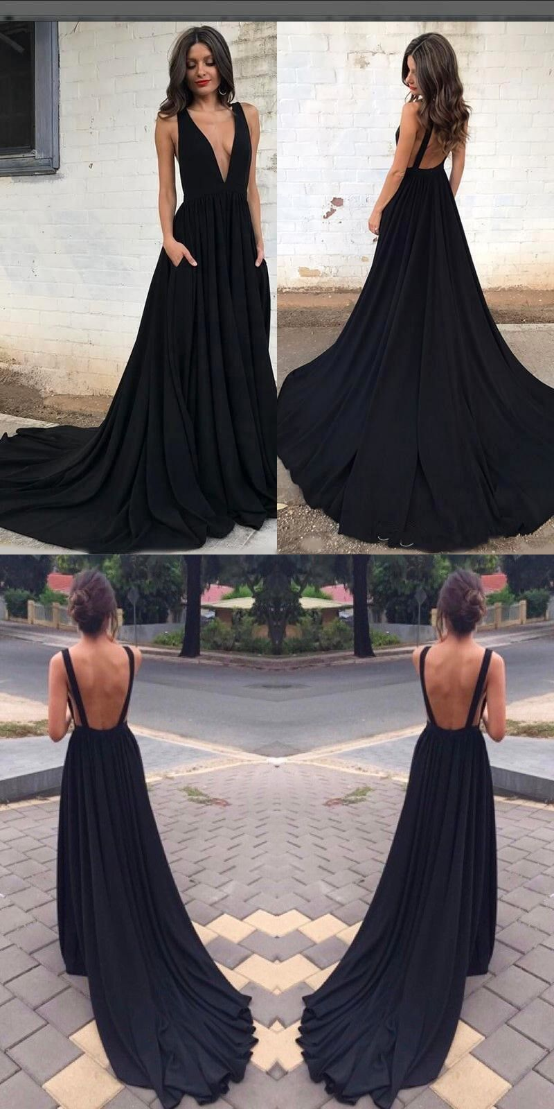 prom dress black long prom dress deep v neck black long prom