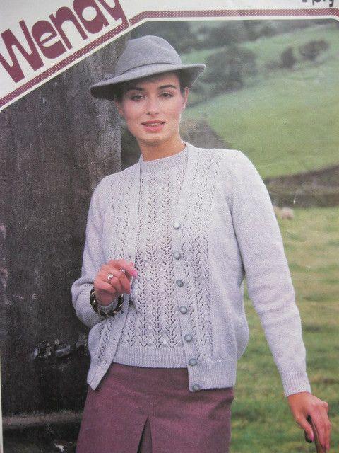 Wendy Knitting Pattern 1944 Ladies Tein Set Bust 32 42