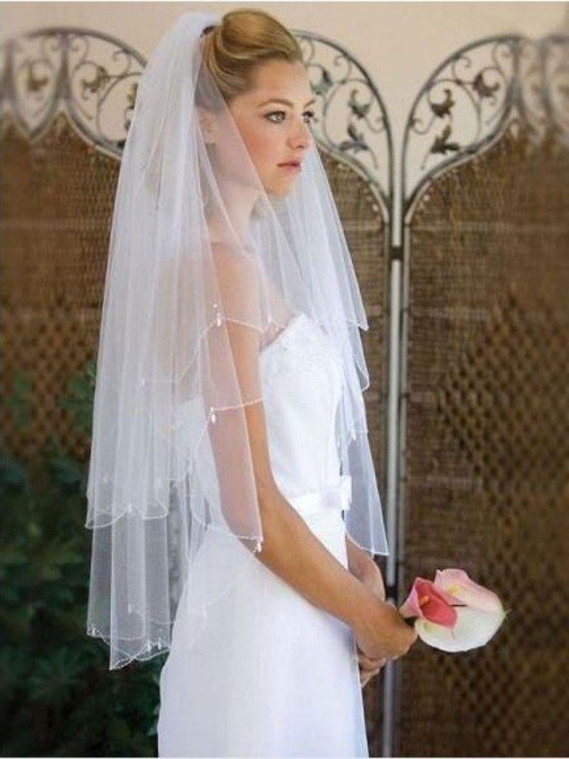 White bride veil multilayer wedding veil pearl cheap wedding veil