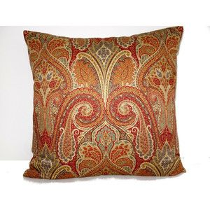 Autumn Paisley Pillow, Red And Gold Pillow Cover, Fall Pillow, Paisley  Throw Pillow