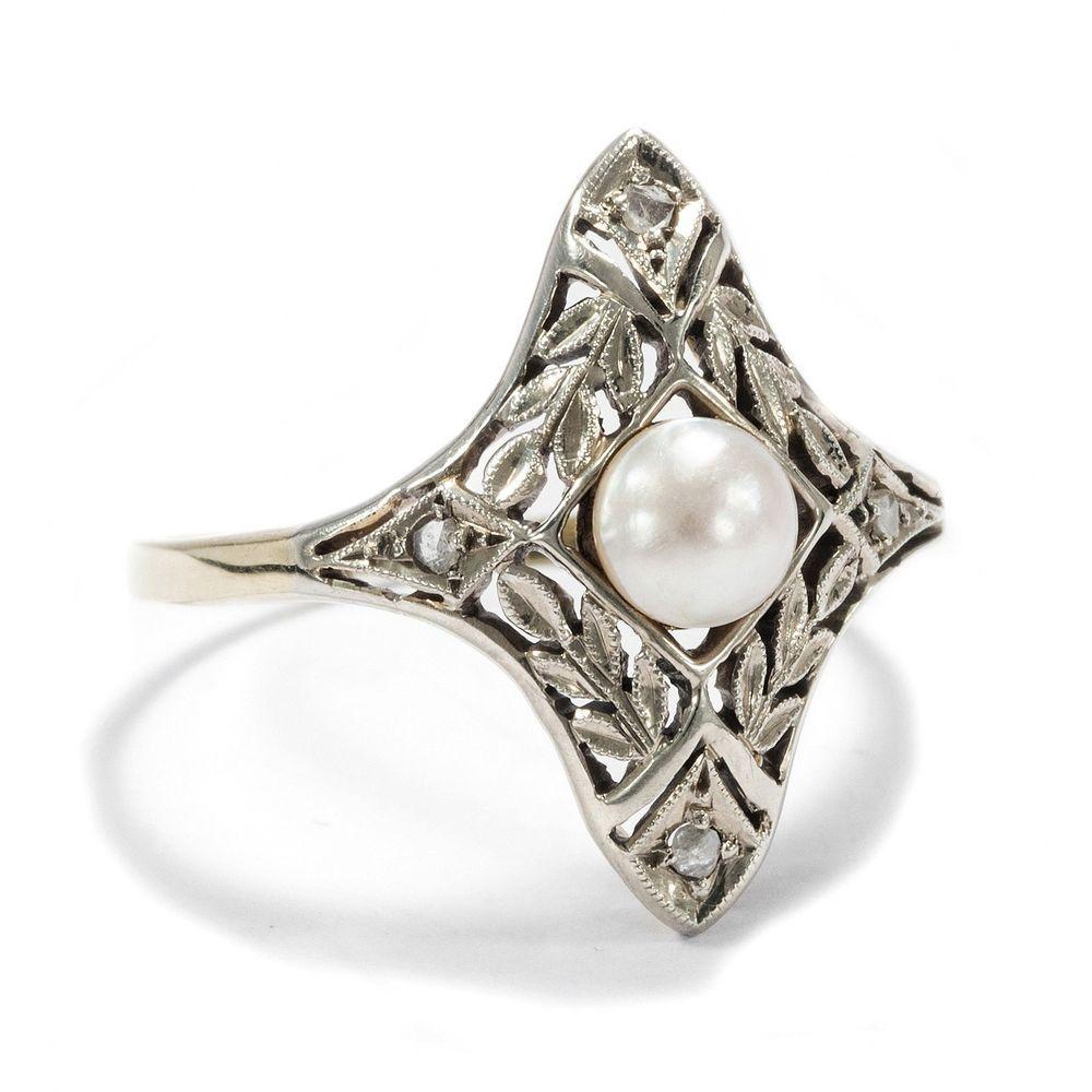 Antiker Ring Um 1910 Naturperle Diamanten 585 Gold Platin