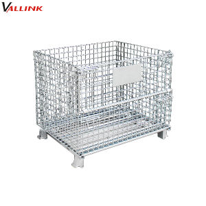 Hot Item Warehouse Foldable Stackable Galvanized Steel Wire Pallet Cage Galvanized Steel Galvanized Material Handling Equipment