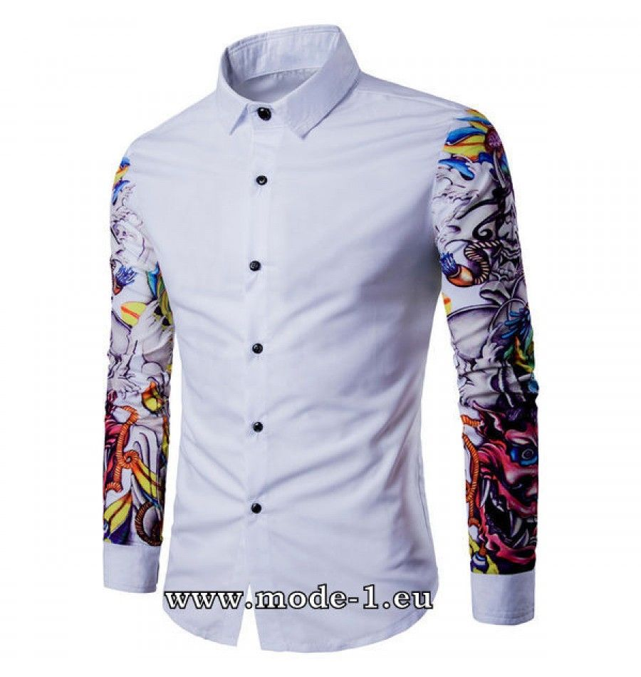 the best attitude 3e32c 29702 Weißes Herren Hemd mit Tattoo Muster | Men Fashion ...